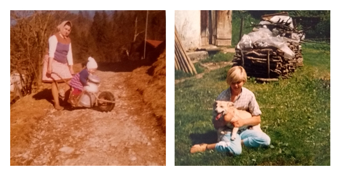 Me as toddler, delivering milk and as a teenager with our dog