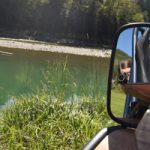 Selfie in Mattro Ziesel rear mirror, in the background the river Enns, Styria
