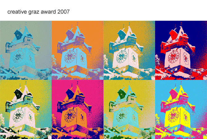 Sujet creative graz award (the clocktower, Andy Warhol style)