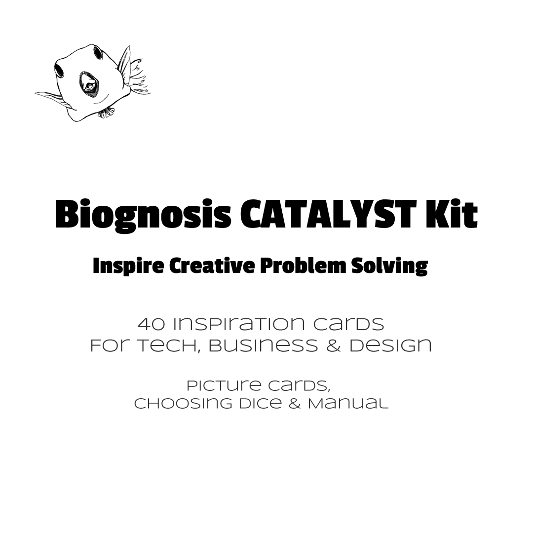 Contents of the Biognosis CATALYST Kit - 40 picture cards, choosing dice and manual