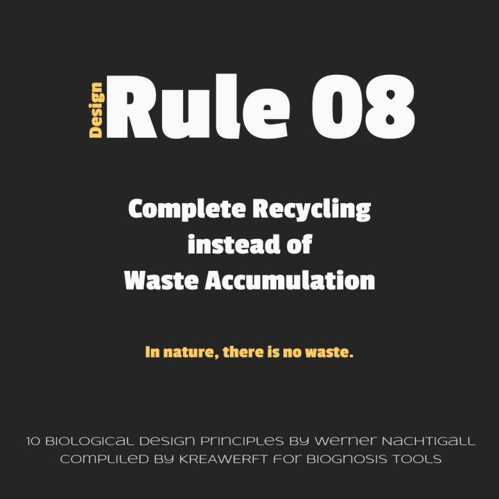 Design Rule 08 by Werner Nachtigall, Complete Recycling instead of Waste Accumulation.