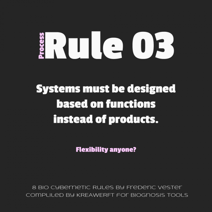 Process Rule by Frederic Vester #3 - Systems must be designed based on functions instead of products